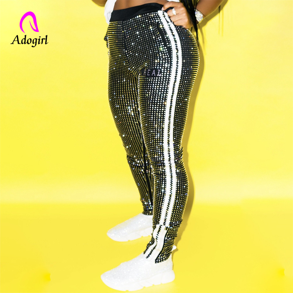 Sequin Pencil Pants Women Autumn Side Stripe Pants Bodycon Sexy Night Club Party Shiny Trousers Fitness Slim Cargo Pants Outfits