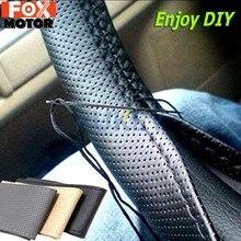 Costura à mão Cobertura de Volante de Carro DIY Preto PU de Couro Com Agulhas E Linhas de Van Para Ford Focus 2 3 kia Rio Hyundai Solaris