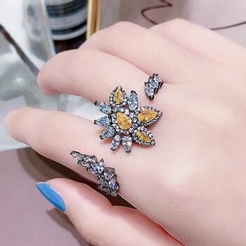 Kinel circón de cristal a la moda anillo de flores para mujer joyería de boda Vintage dedo hoja fiesta cóctel anillos drop shipping