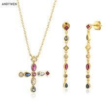 ANDYWEN – collier en argent Sterling 925 et Zircon arc-en-ciel, ensemble de bijoux fins, longue chaîne, boucles d'oreilles goutte, Punk Rock, à la mode, 2020