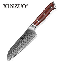 XINZUO 5'' inch Santoku Knife Damascus Steel Kitchen Knife Stainless Steel Professional New Santoku Knives with Rosewood Handle(China)