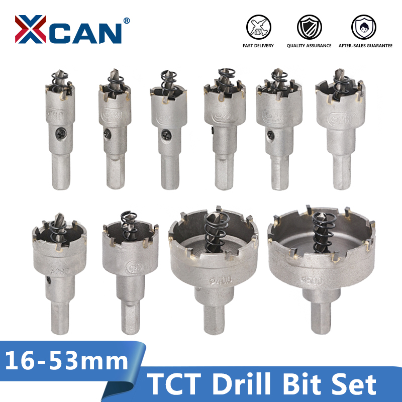 XCAN TCT Drill Bit 16-53mm HoleSaw Set Carbide Tipped Wood Metal Core Drill Bit Hole Saw Cutter