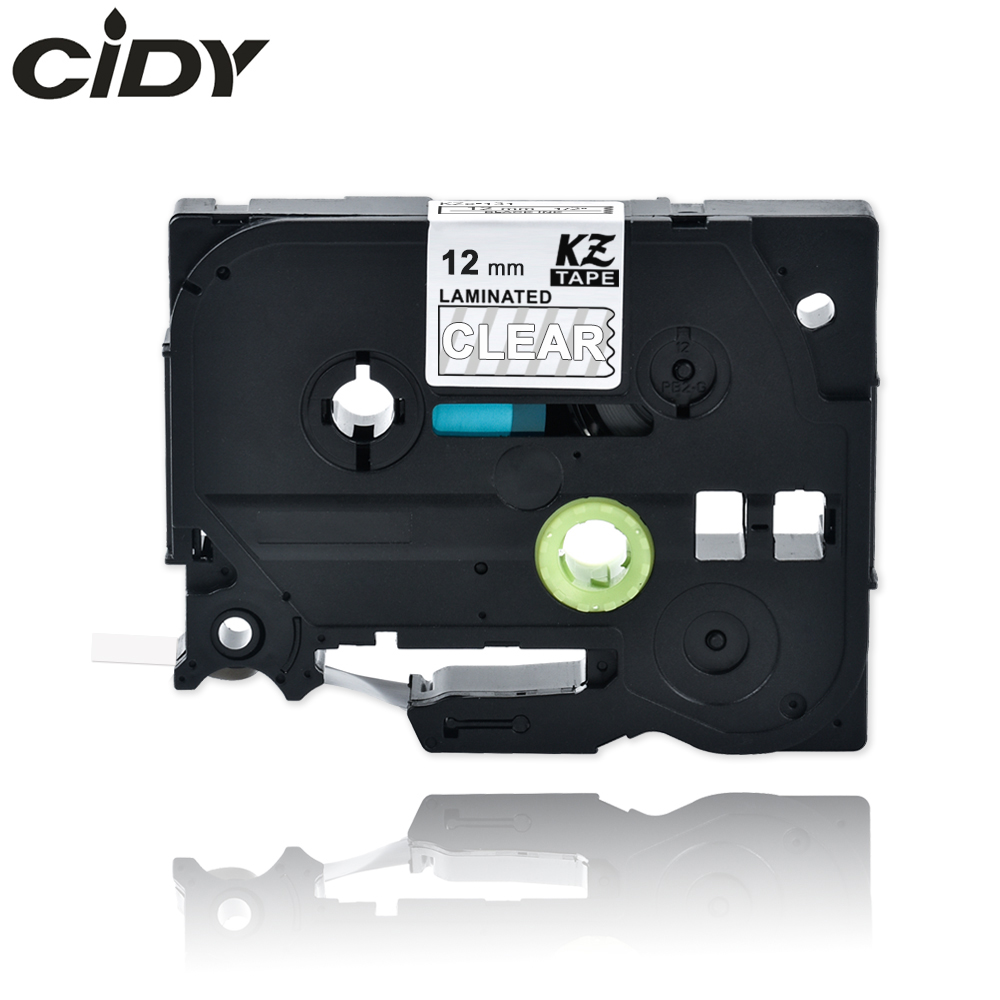 CIDY Tze 135 Tz135 White On Clear Laminated Compatible Brother P Touch 12mm Tze-135 Tz-135 Tze135 Label Tape Cassette Cartridge
