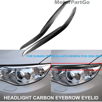 Real Crabon Fiber Head light Eyelid Eyebrow Cover Trim 1pair for  Subaru Impreza 4-6th 4 5 6Generation 2004-2009 T219 1