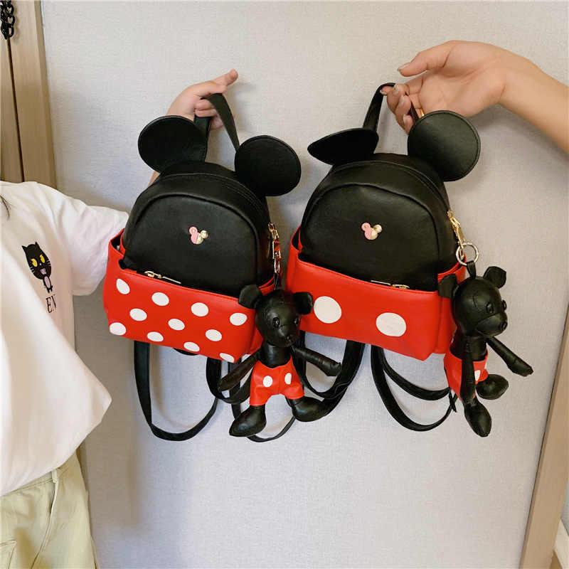 Bolso de hombro del jardín de infantes de Mickey mouse de Disney + bolso de hombro de la muñeca colgante señora niños mochila de viaje bolso de la muchacha del niño mochila del padre-niño