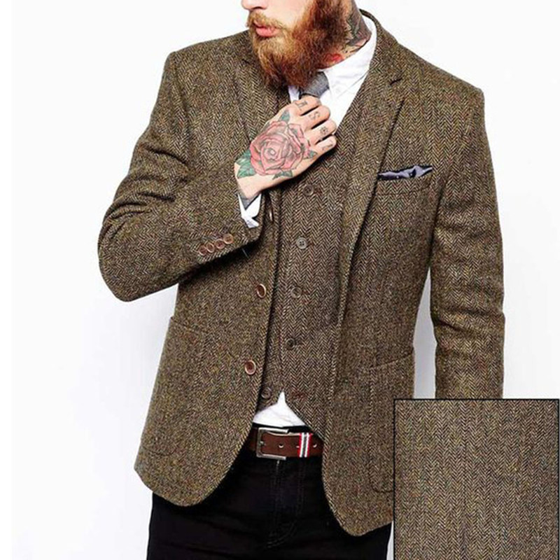 Brown Tweed Men Suits Slim Fit Blazer Waistcoat Notched Lapel Three Piece Jacket Vest Black Pants Tailor Made Wedding Tuxedos