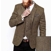 Brown Tweed Men Suits Slim Fit Blazer Waistcoat Notched Lapel Three Piece Jacket Vest Black Pants Tailor Made Wedding Tuxedos(China)