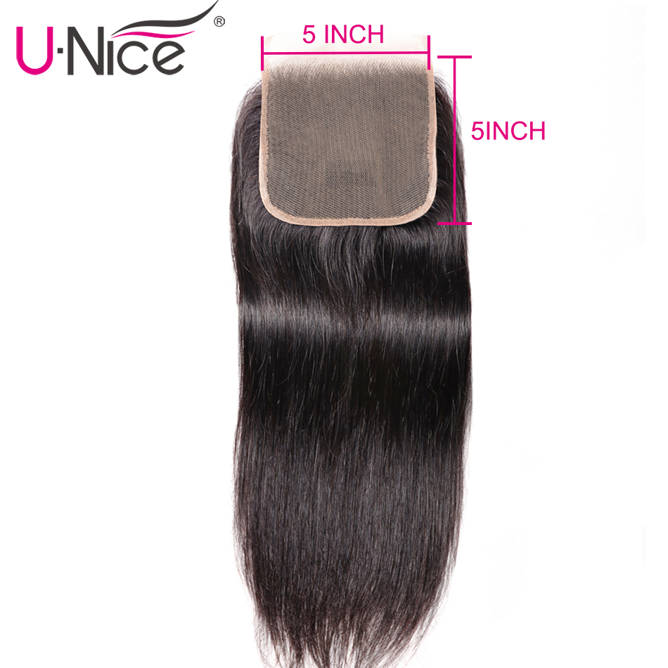 Unice Hair Brazilian Straight Human Hair Closure With Baby Hair 5x5 Lace Closure Free Part Swiss Lace Remy Hair Extension