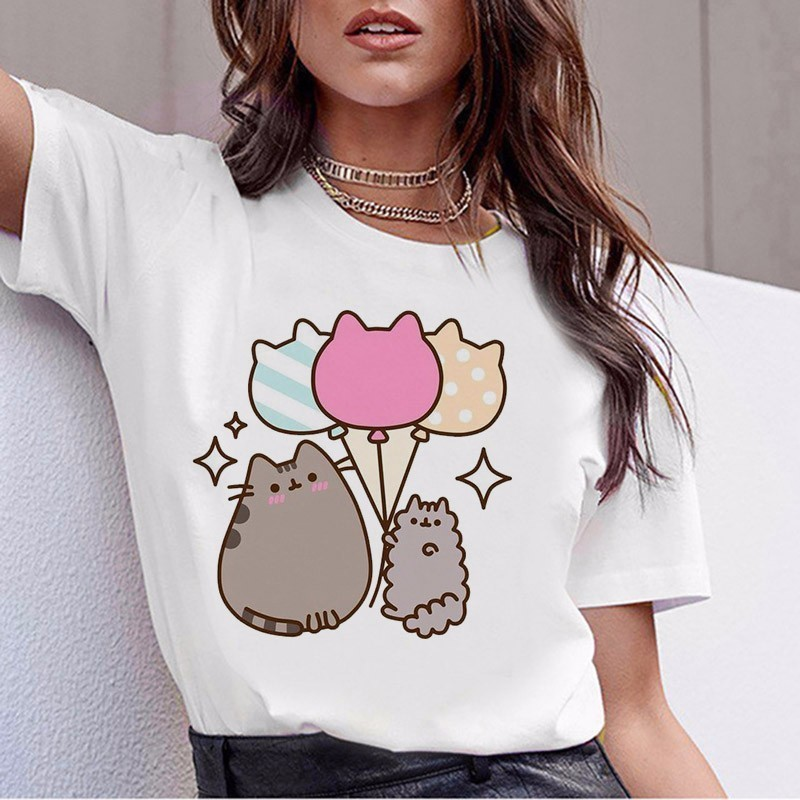 2019 New  Cat T Shirt Harajuku Funny T Shirt Women Tshirt Female Tee Shirt Femme Tops Aesthetic Women Clothes Streewear