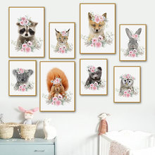 Wall Art Canvas Painting Cute Animal Rabbit Fox Raccoon Squirrel Flowers Nordic Posters And Prints Wall Pictures Kids Room Decor
