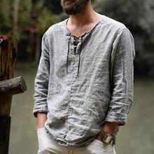 Camisa larga de manga larga de algodón seré y lino para hombre ¡blusa masculina cmoda de estilo veraniego... ltima novedad