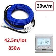 220V 850 ワット電熱線 20 重量/容積 42.5 メートル/ロット Pvc コーティングツイン合金床温暖加熱ケーブル