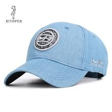 RITOPER Unisex Denim Vintage Baseball Caps Embroidery Letter Printing Cap Womens Hat Outdoor For Male Children New