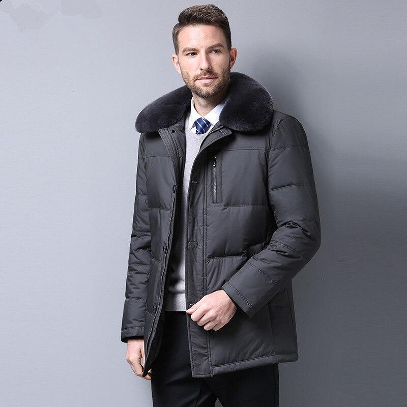 Men 90%White Duck Down Jacket Men Clothes 2020 Men Rabbit Fur Collar Warm Parkas Casaco Masculino SRYF868 MY798