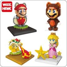 Weagle süper Mario şeftali prenses Bowser Goundhog uçan sincap Mario 3D Model elmas Mini yapı küçük bloklar oyuncak hiçbir kutu