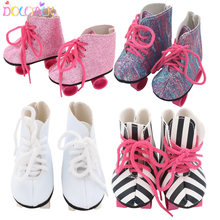 New Style Pink White Doll Handmade Skate Shoes Fit 43cm Born Baby Doll Boots 18 Inch Doll Shoes Children Best Birthday Gift