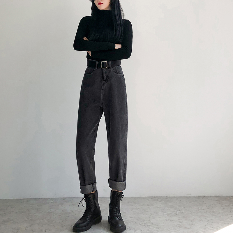 New Fashion Black Gray Solid Jeans For Woman Street Wear Vintage High Waist Denim Pants Woman Casual Jean Female Plus Size