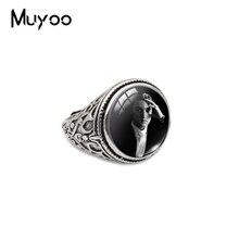 Famoso cantante estrella Pop Elvis Presley cabujón de cristal vintage anillos mano joyería artesanal oro antiguo moda anillos de Color para los Fans