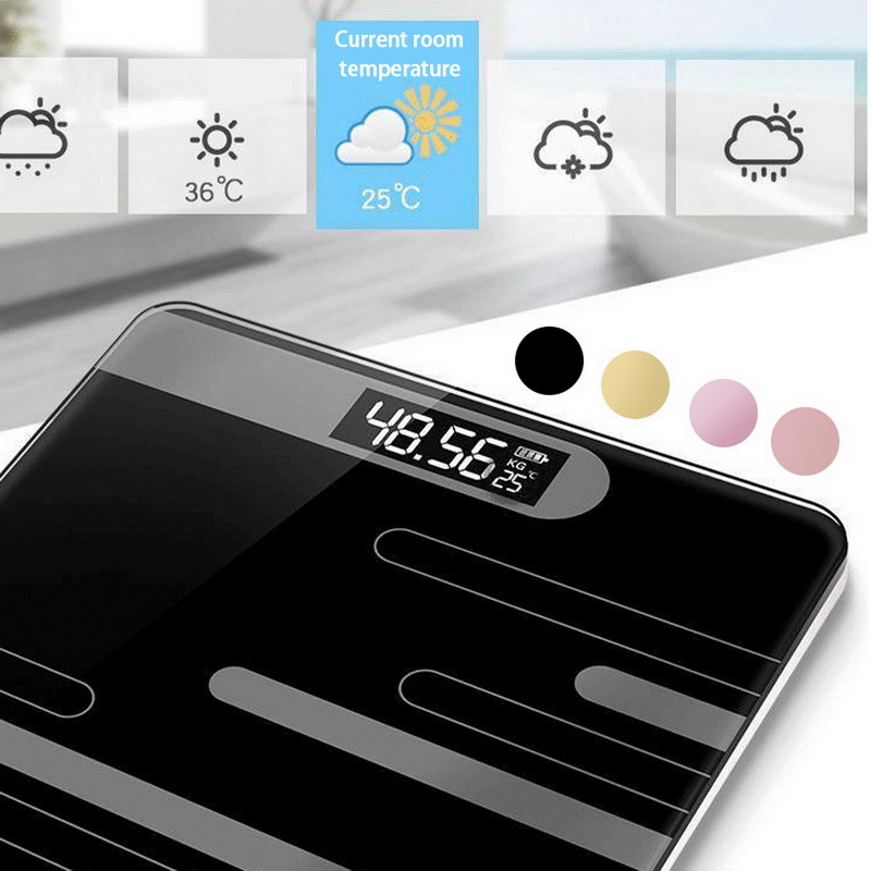 Digital-Weight-Scale Lcd-Display Electronic-Scales Glass Floor-Body-Scale Body-Weighing title=