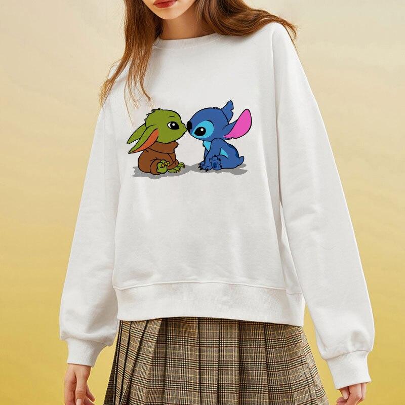Showtly 2020 New Design Hot Sale Hoodies Lilo & Stitch Kiss  Baby Yoda Sweatshirts Women Casual Kawaii Harajuku Girls European