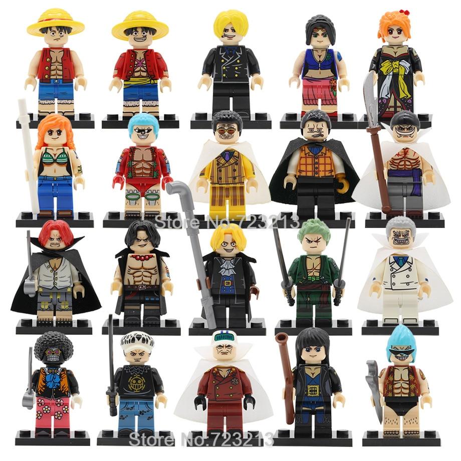 20pcs ONE PIECE Luffy Figure Set Ace Nami Nico Robin Zoro Sanji FRANKY Crocodile Building Blocks Sets Models Bricks Toys Legoing