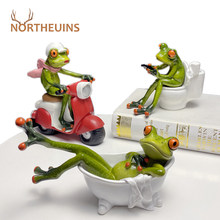 NORTHEUINS Resin Frog Figurines Nordic Creative Animal Statues for Interior Sculpture Home Desktop Living Room Decoration Gifts
