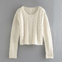 Women Crochet Knitting Sweater Casual Femme O-Neck Nine Quarter Sleeve Pullover Lady Loose Tops SW930(China)