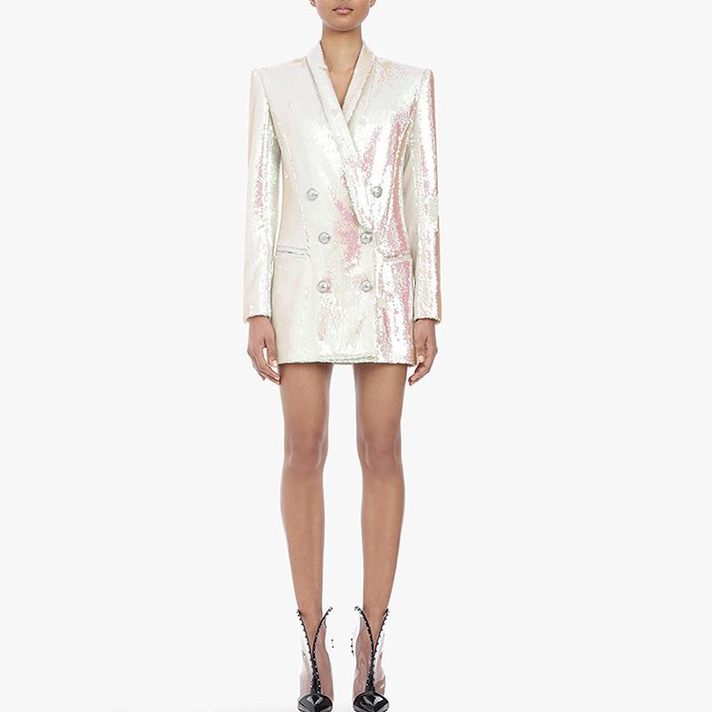 High Quality Shining Sequin Long Sleeve Blazer Dress Women Dress Double Breasted Notched Lapel Collar Chic Glitter Elegant Dress