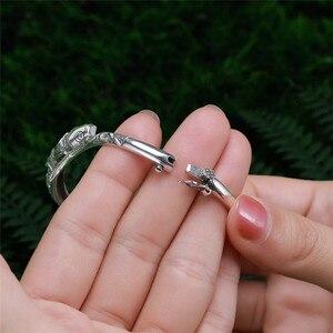 Image 4 - V.YA Thai Silber Vintage Armreifen Fisch Armbänder für Frauen 925 Sterling Silber Schmuck Einzigartige Toggle haken Design 56MM