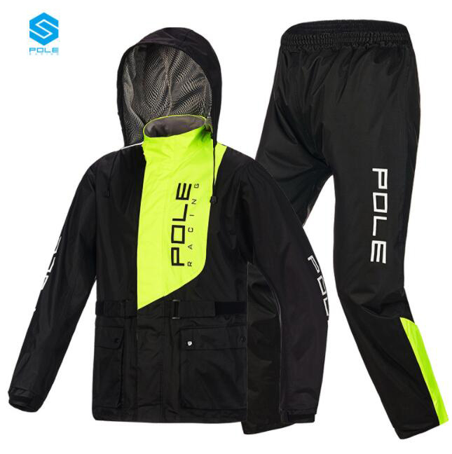 POLE Waterproof Motorcycle Rain Suit Raincoat+Rain Pants Poncho Motorcycle Rain Jacket Motorbike Riding Rain Coat Motorcycle
