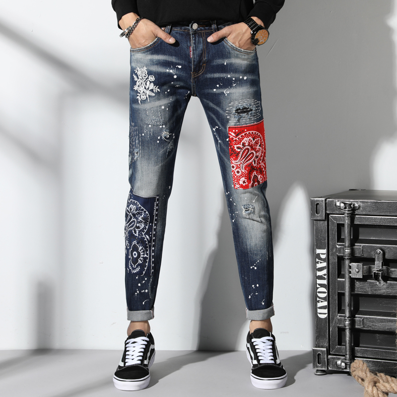 New Torn Ripped Jeans For Men Spliced Embroidery Skinny Jeans Men Elastic Stretch Slim Pants Hip Hop Streetwear Spring Autumn