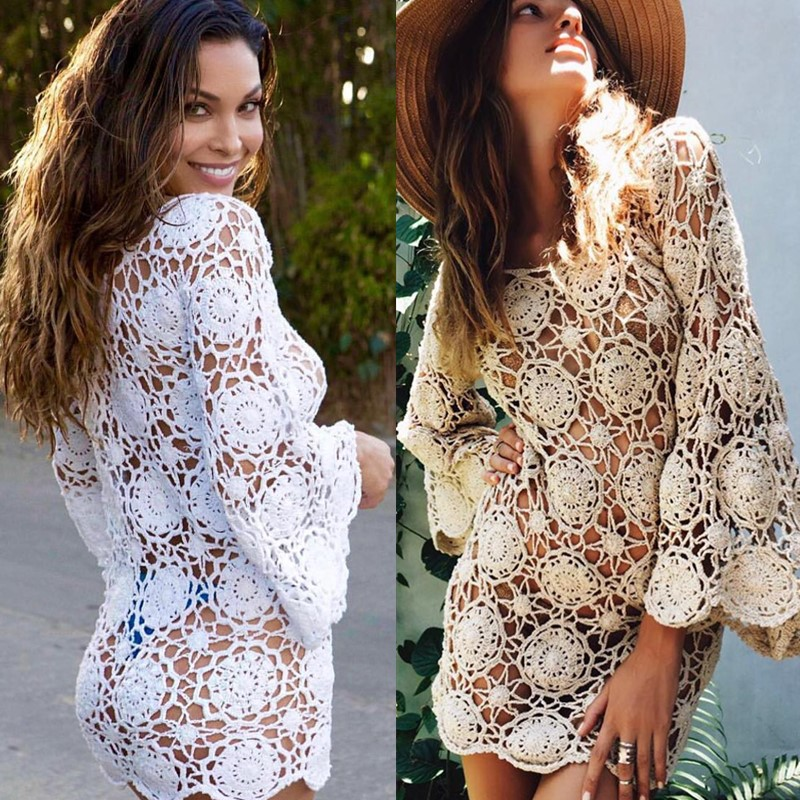Boho Bikini Cover Up Dress Bell Sleeve Crochet Tunic Sexy Hippie Gipsy Lotus Dress