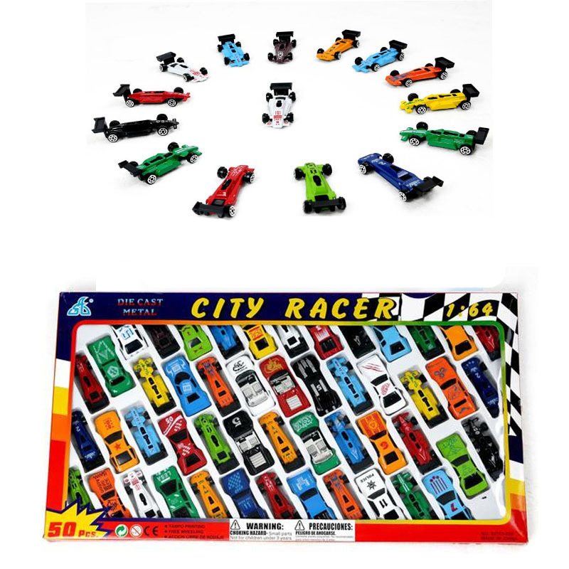 50pcs/set 1:64 Car Toys Set Inertia Alloy Car Model Toy Set Small Rail Vehicle Mini Car Toys Model Boys Toys For Children