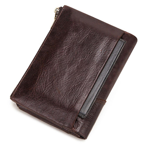 Image 2 - GZCZ RFID Genuine Leather Rfid Wallet Men Crazy Horse Wallets Coin Purse Short Male Money Bag Quality Designer Mini Walet Small