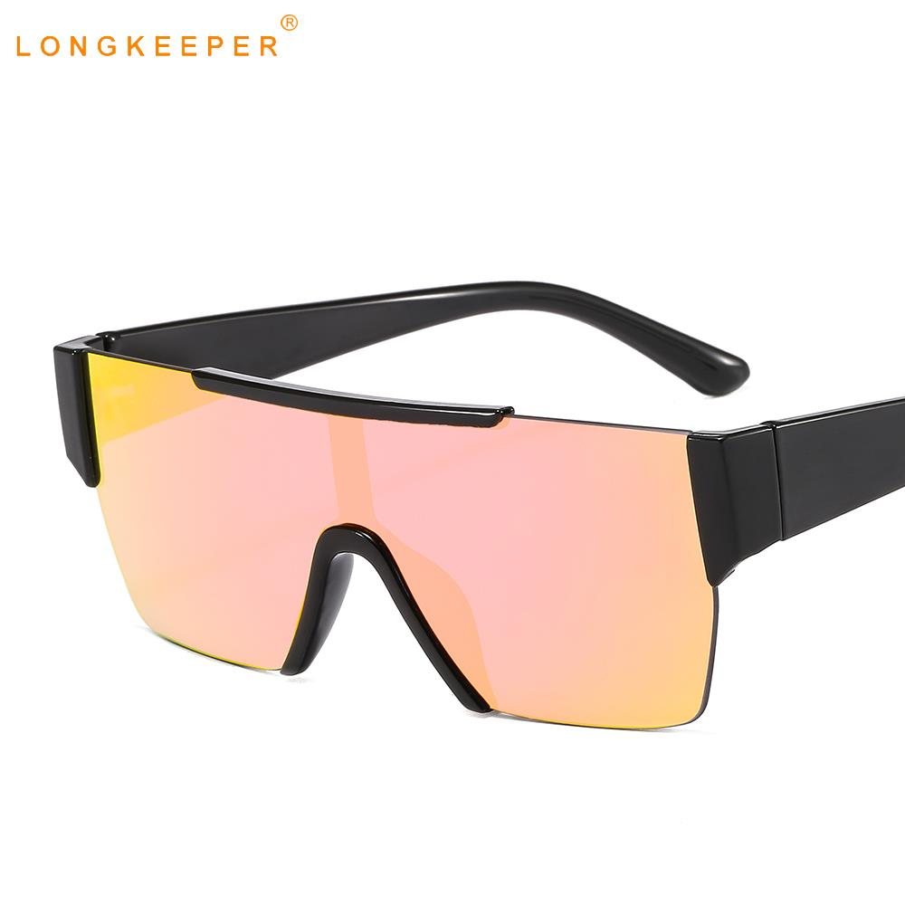 Flat Top Oversized Square Black and Pink Square Gradient UV400 Sunglasses
