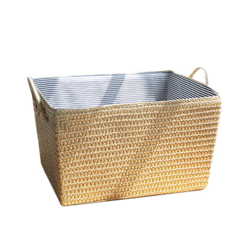 Japanese Style Straw Storage Bucket Household Woven Laundry Bucket With Both Ears Sundries Storage Basket Simple Flower Pot Set|Laundry Baskets| |  - title=