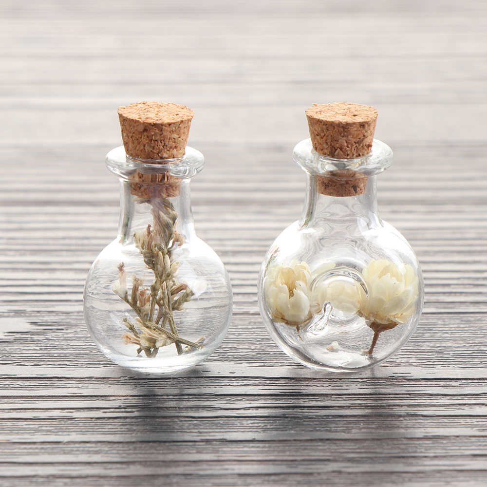 5PCS Mini Cork Plug Stopper Transparent Glass Message Bottles Tiny Small Containers Blank Lovely Clear Vials Decorative Crafts