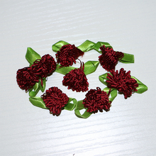 10 Pcs/pack Wine Red Appliques Scrapbooking DIY Satin Ribbon Roses Flower Sewing Handmade Small Wedding Party Craft Decor