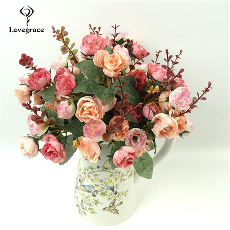 Lovegrace Artificial Silk Flower 21 Heads Retro Rose DIY Bridal Bouquet Burgundy Flowers Home Party Room Wedding Decor Fake Rose