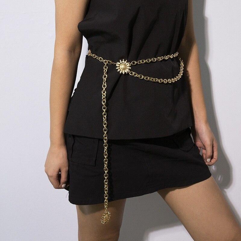 Ladies Metal Luxury Waist Chain Gold Silver Sun Flower Body Chains Fashion Dress Jewelry Designer Chain Belt Party Accessories