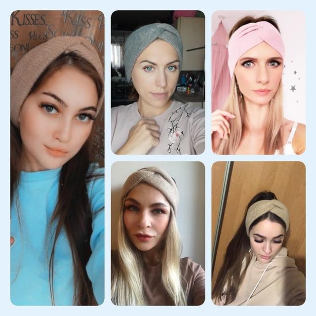 Women Solid Knitting Cross Knot Woolen Warm Headbands Hair Holder Elastic Hairbands Turban Headwraps Fashion Hair Accessories 3