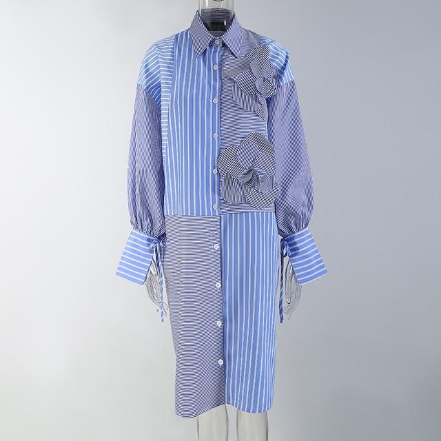 Blue Striped Shirtdress flower accent 4