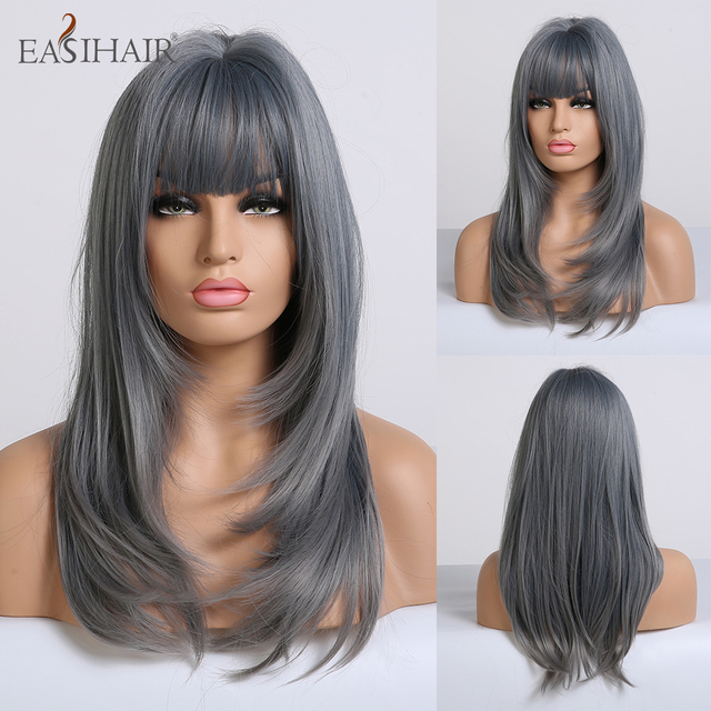 EASIHAIR Blue Ombre Straight Bob Wigs with Bangs Medium Length Synthetic Wigs for Women Heat Resistant Cosplay Wigs Fake Hair