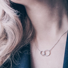 European and American Popular Jewelry Double Round Geometric Necklace Short Stainless Steel Necklace 316L Clavicle Chain round geometric cut out arm chain