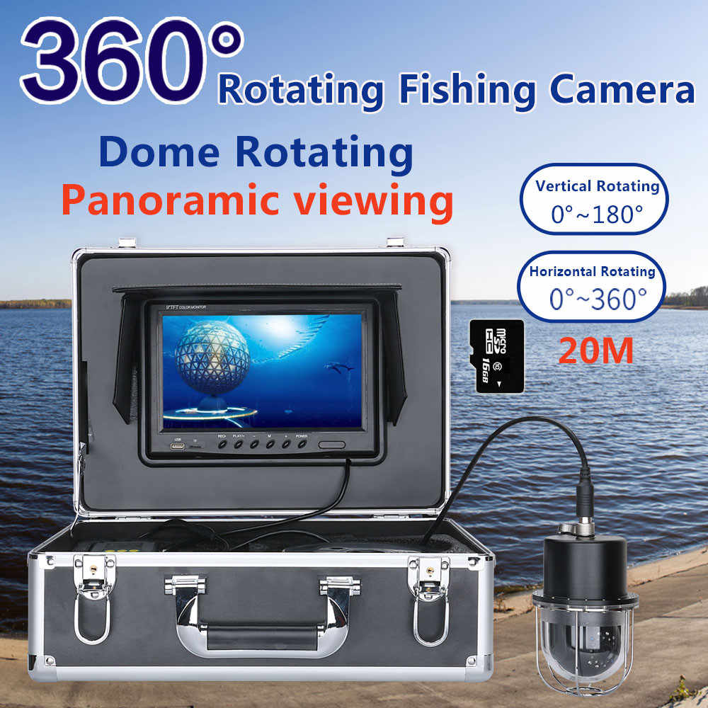 "9 ""Registratore DVR 20m/50m/100m Pesca Subacquea Video Camera Fish Finder IP68 Impermeabile 20 led 360 Gradi di Rotazione Della Macchina Fotografica"
