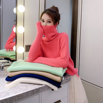 Ailegogo New Spring Women Pullovers Casual Female Turtleneck Loose Fit Knitted Sweater Solid Color Ladies Knitwear Tops 1