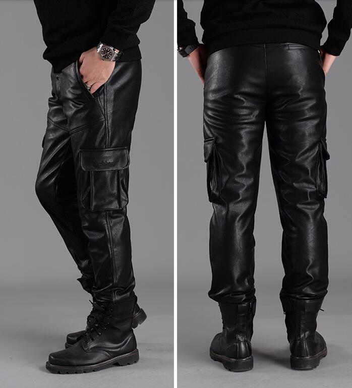 European And American Fashion Motorcycle Leather Pants Men Plus Velvet Thickened 2020 New Suede Loose Men's Leather Pants