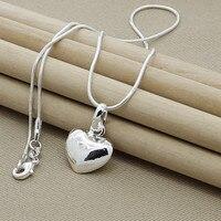 925 Sterling Silber Solide Kleine Herz Anhänger Halskette Schlange Kette Für Frauen Hochzeit Charme Mode Schmuck Geschenke