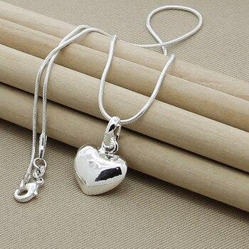 Women Small Heart Pendant Necklace Jewelry 925 Silver Jewelry