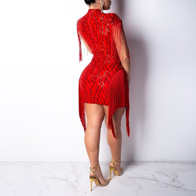 Evening Party Sequin Dresses Women Nightclub Party Club Tassel Petal Sheath Sleeveless Sexy Ladies Dress Elegant Tunic 2
